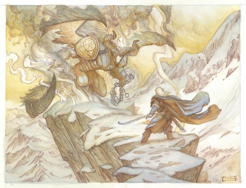The Silmarillion- Glorfindel and the Balrog Original Watercolor